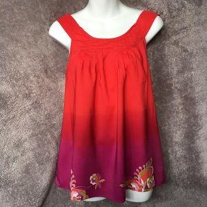 Eci NY Red Ombré Purple sleeveless blouse